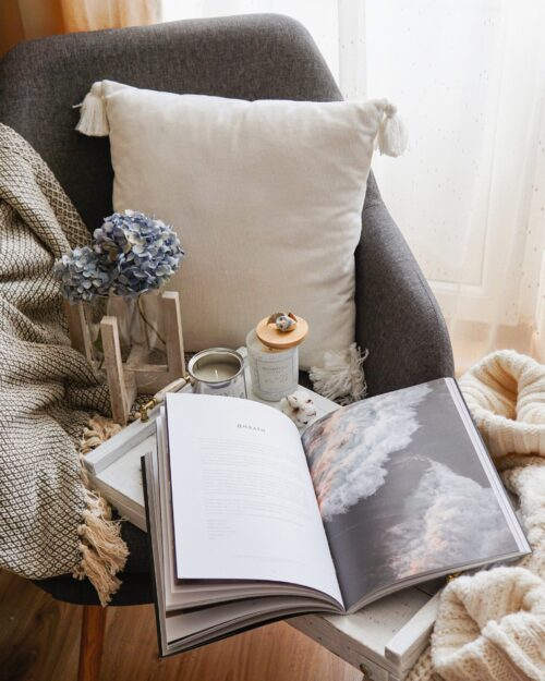 Book on couch with Cushions